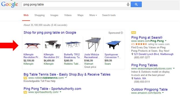 Product Listing Ad placement example for ping pong table